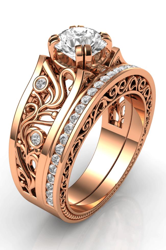 Rose gold engagement ring for women
