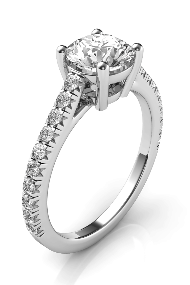 Thin band engagement ring for women