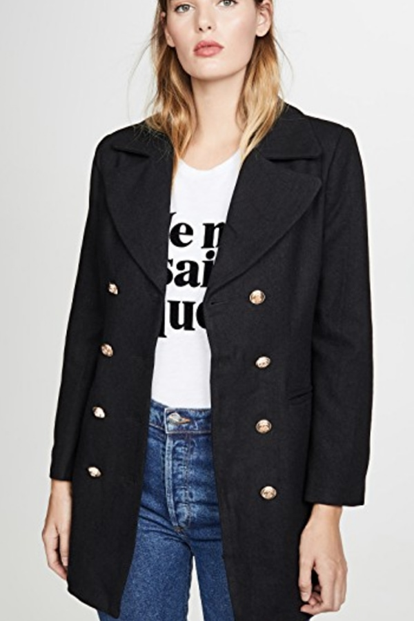 Long blazer with brass buttons