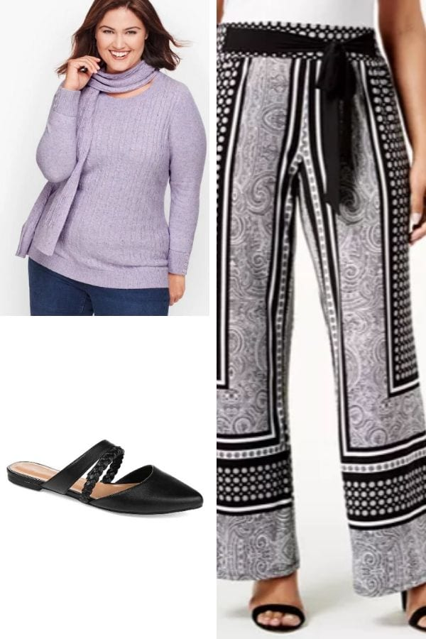 Outfit collage: palazzo pants, sweater and sandals