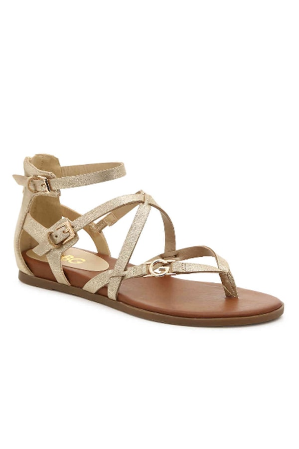 Metallic sandals to wear on a cruise