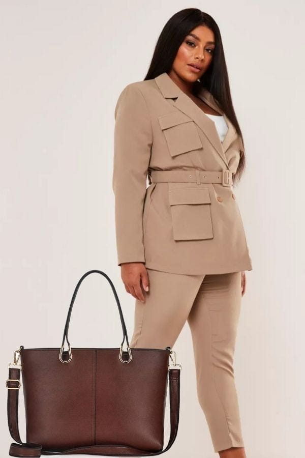 Outfit collage: suit separates and tote bag