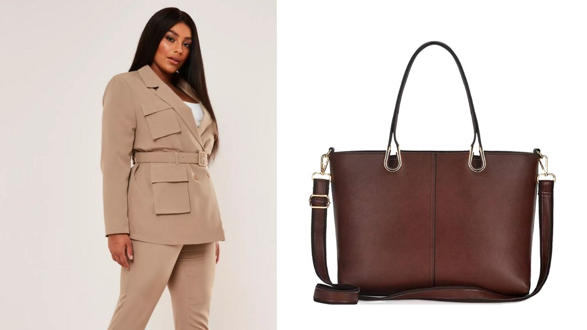Outfit collage: suit separates and tote