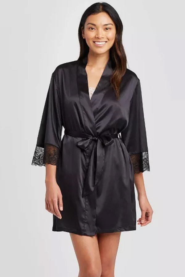 Black satin robe from Target