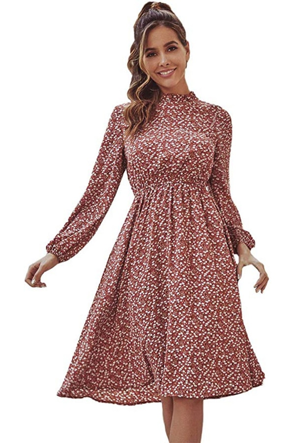 Patterned, long sleeve midi dress from Amazon