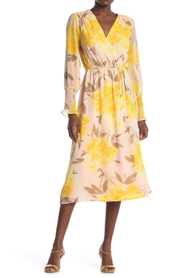 Yellow floral long sleeve midi dress from Nordstrom Rack