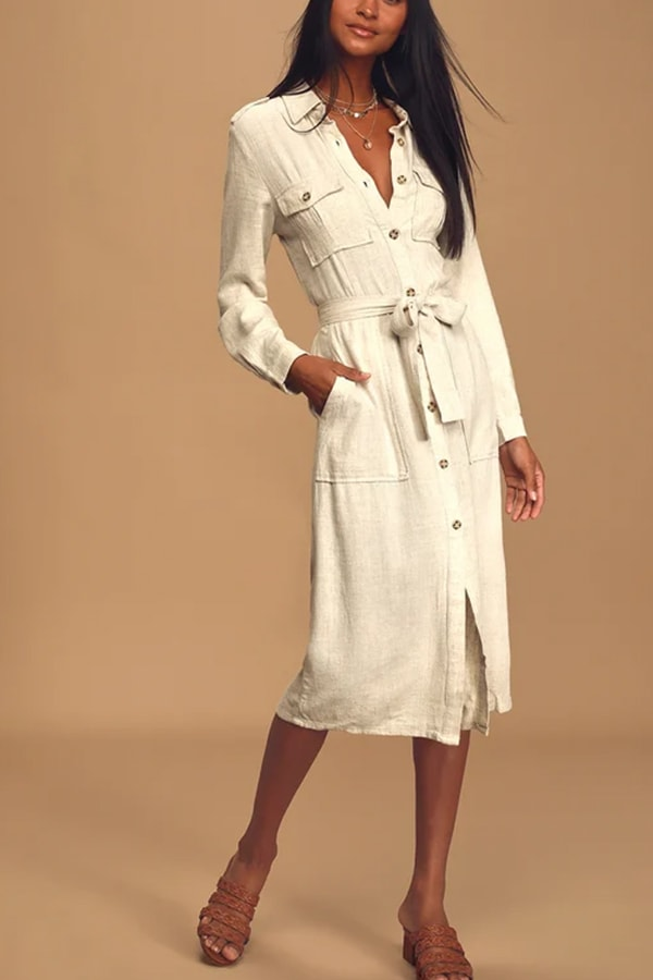 Structured long sleeved midi dress for work