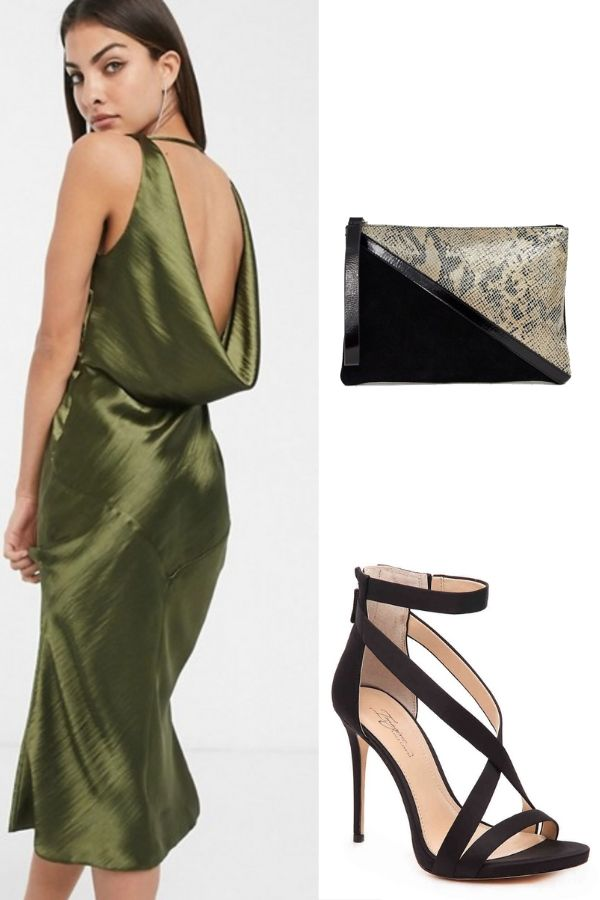 Date night outfit: cowl back dress, heels, and clutch
