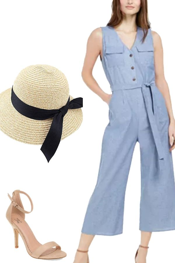 Outfit collage with jumpsuit, hat and heels