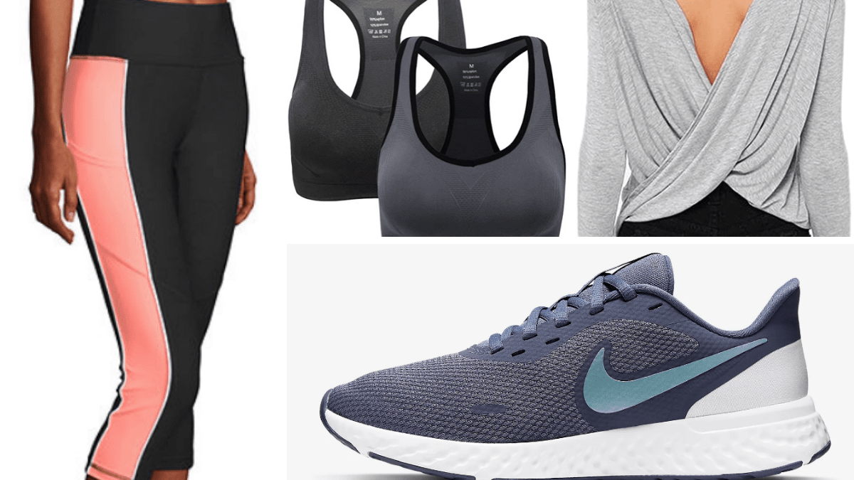Outfit collage: light workout outfit