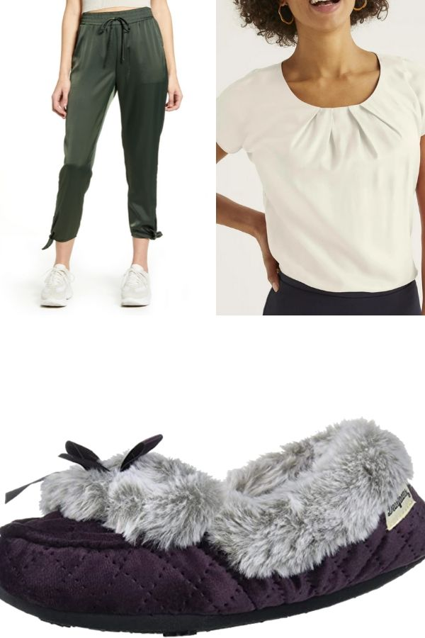 Outfit collage with joggers, slippers, and top