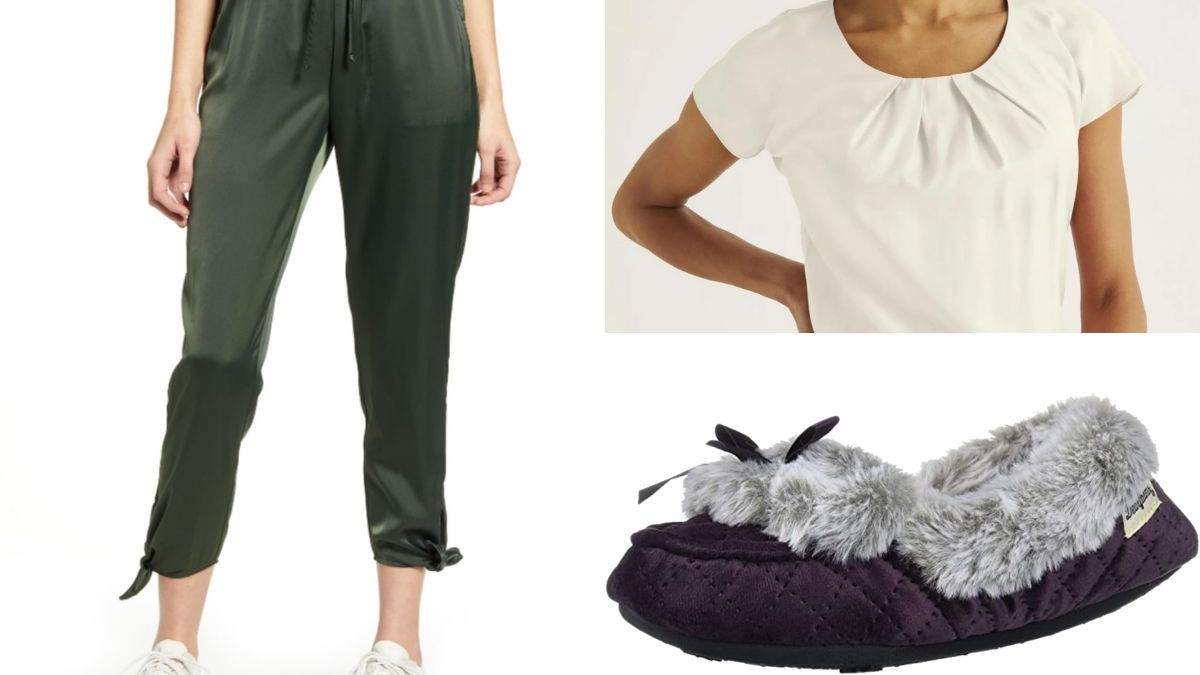 Outfit collage with joggers, slippers and top