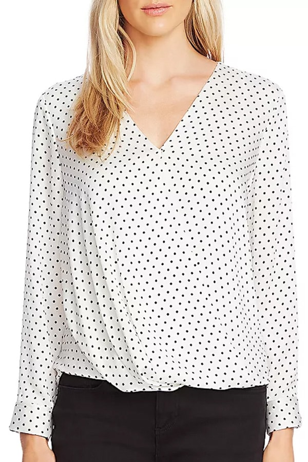 What to wear when you work from home? Try a polka dot surplice blouse!