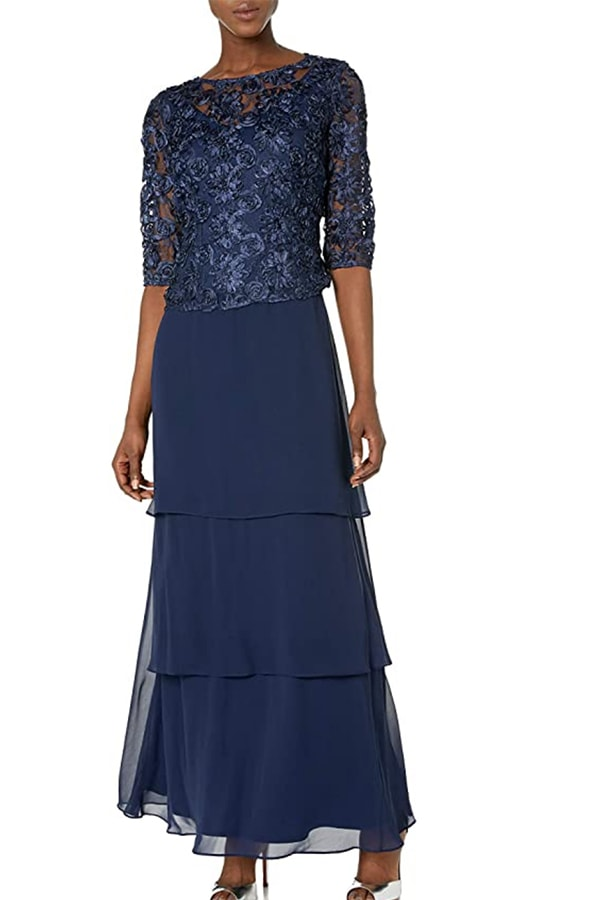 Blue dress for 60-year-old wedding guest