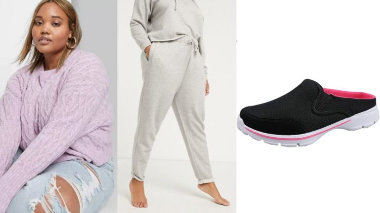 Plus size outfit of sweats and cropped sweater