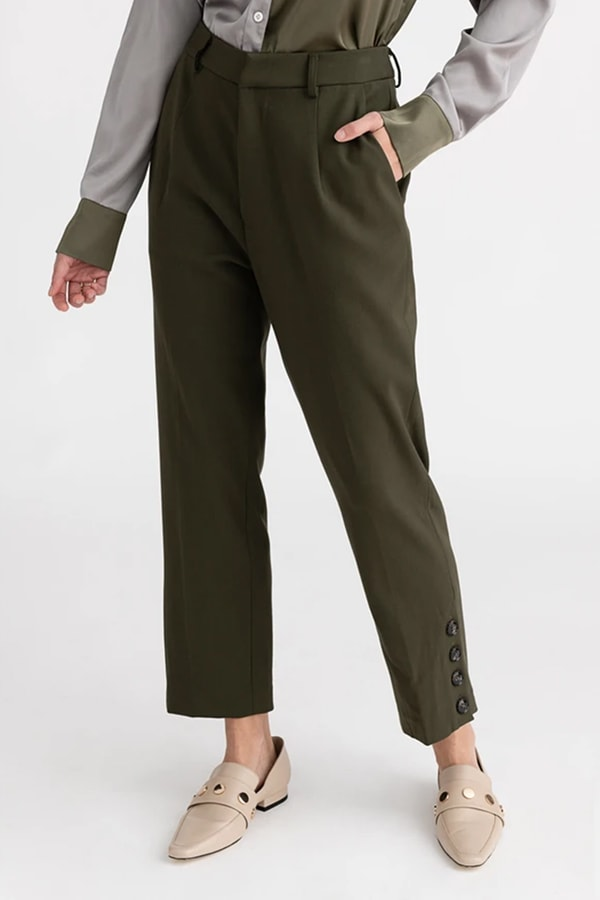 Olive green pants from small fashion brand Petite NYC