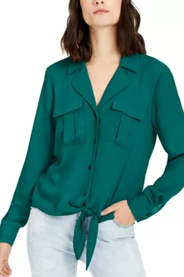 Green, tie front blouse