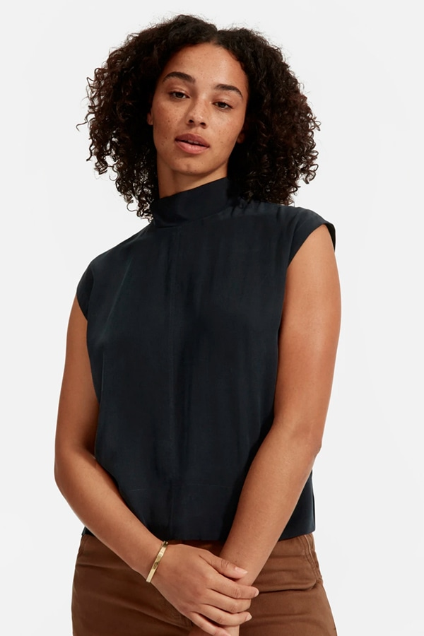 Black silk blouse from Everlane