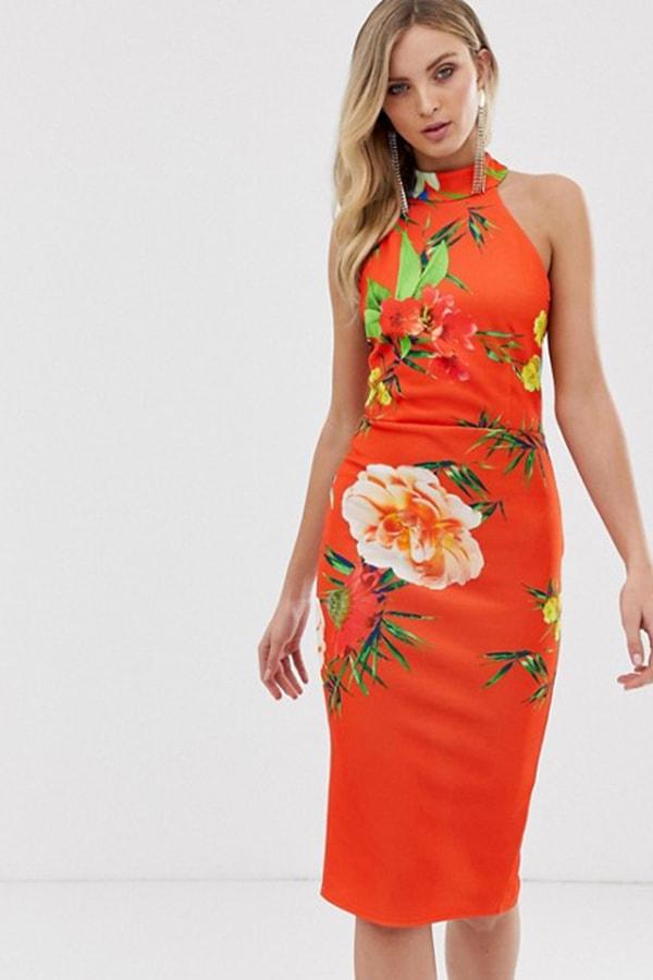Orange floral print bodycon dress