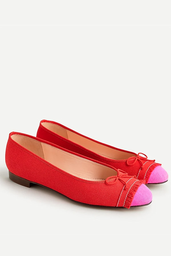 Red and pink ballet flats from J. Crew