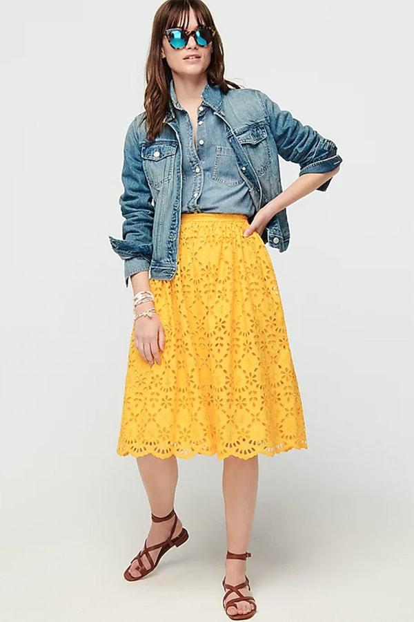 J. Crew yellow midi skirt with eyelet design