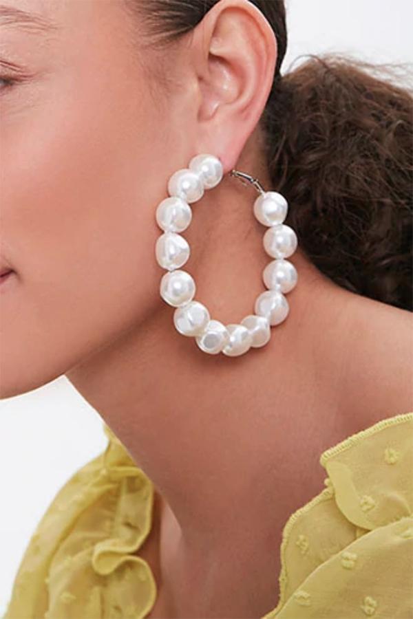 Oversized pearl hoop earrings