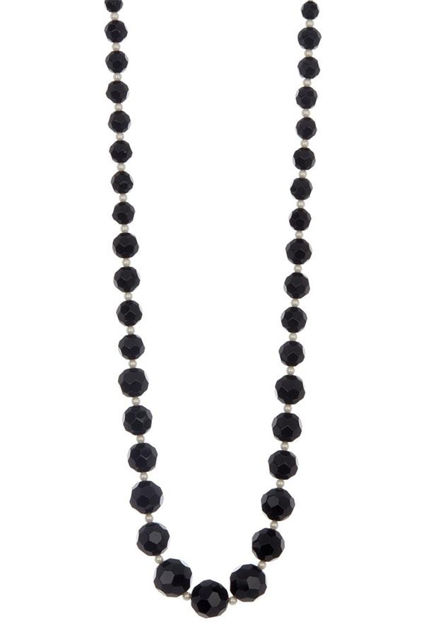 Black faux pearl necklace