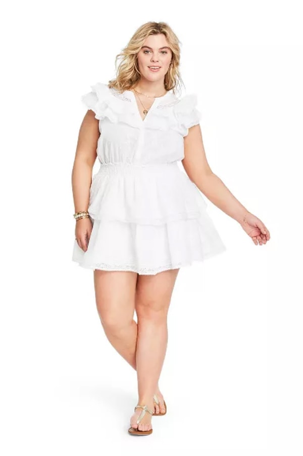 White ruffle dress from Target