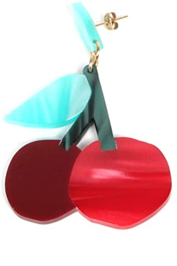 Acryllic cherry earrings from Common Threads collection on Amazon