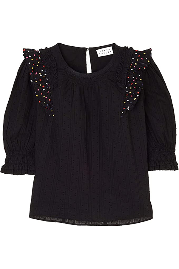 Black top from Tanya Taylor on the Common Threads collection on Amazon