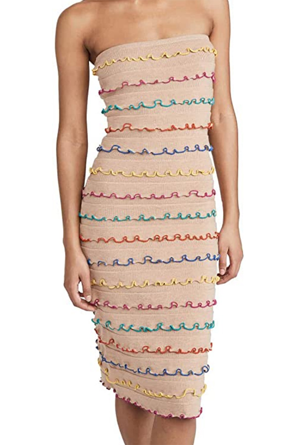 Tiered dress with rainbow edges
