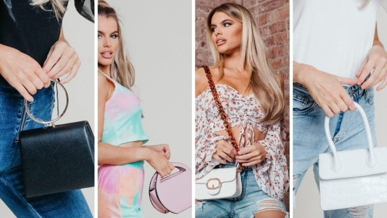 Collage of Hayley Hughes modeling mini handbags