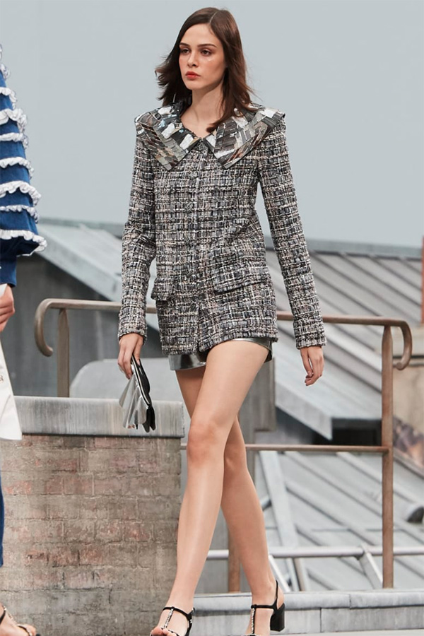 Chanel shorts suit with tweed jacket and lambskin shorts