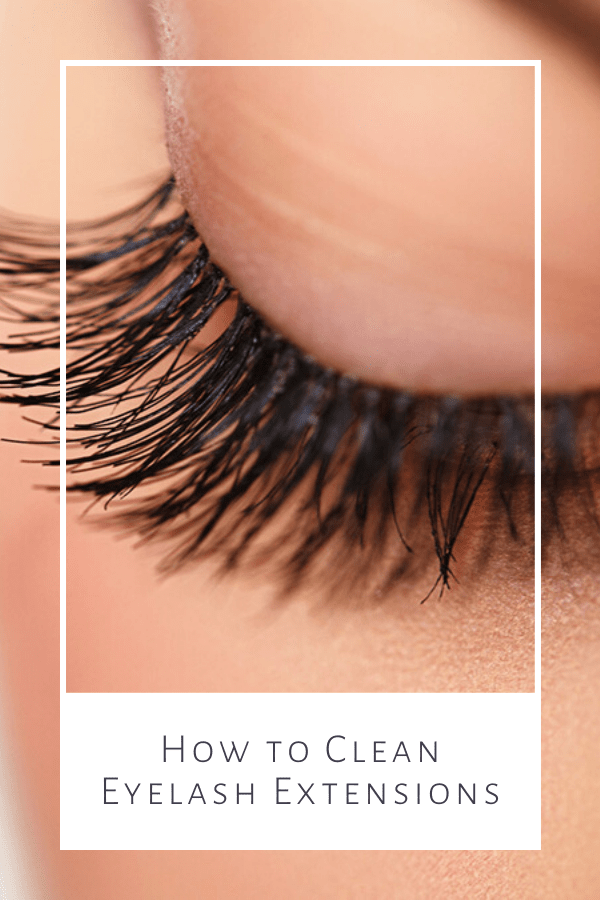 Close up of eyelashes with caption: cleaning eyelash extensions