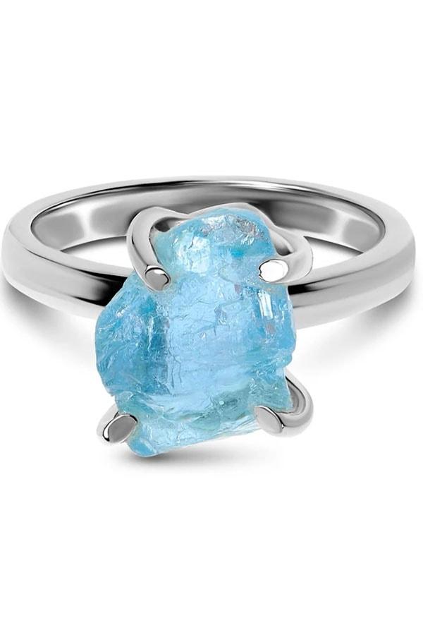 Raw aquamarine ring from Moon Magic