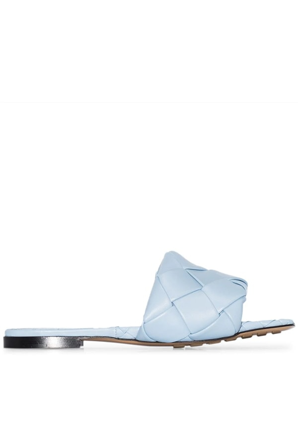 Blue woven sandal from Bottega Veneta
