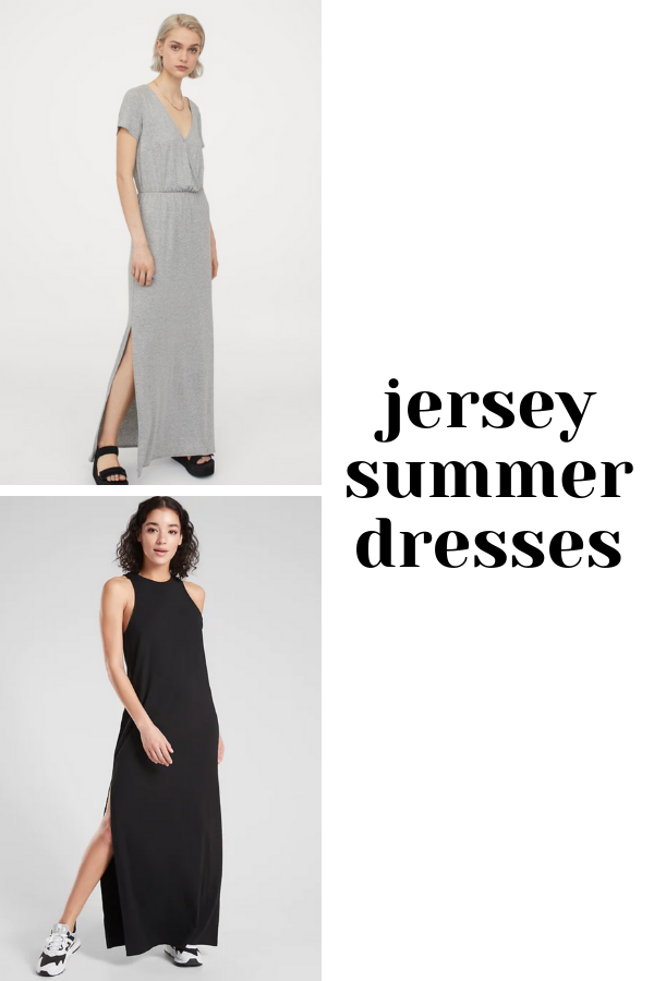 Collage of grey jersey dress and black jersey dress