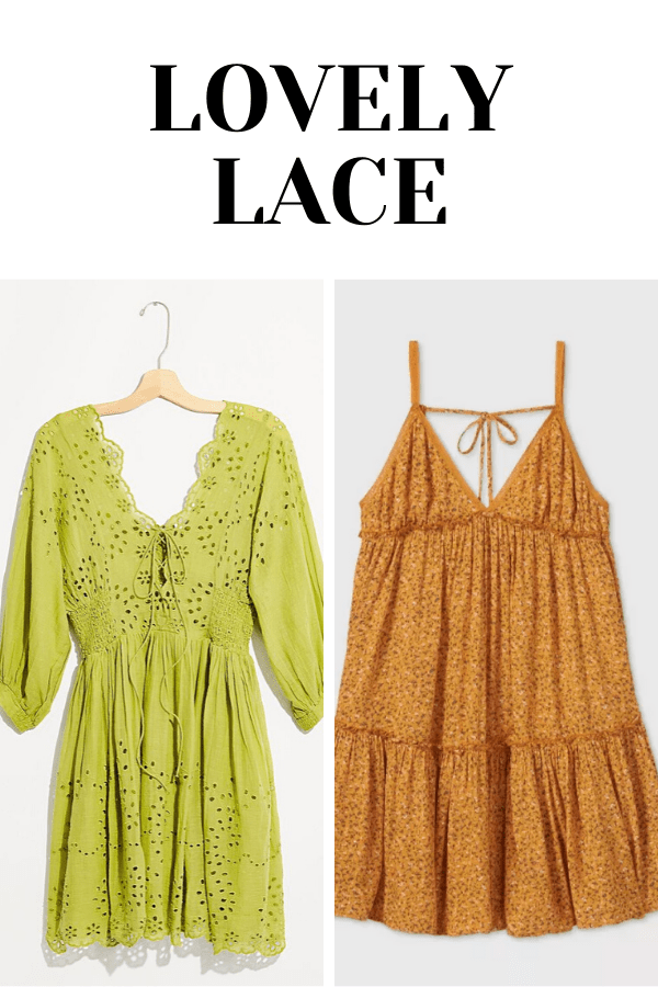Collage of two dresses with lace details