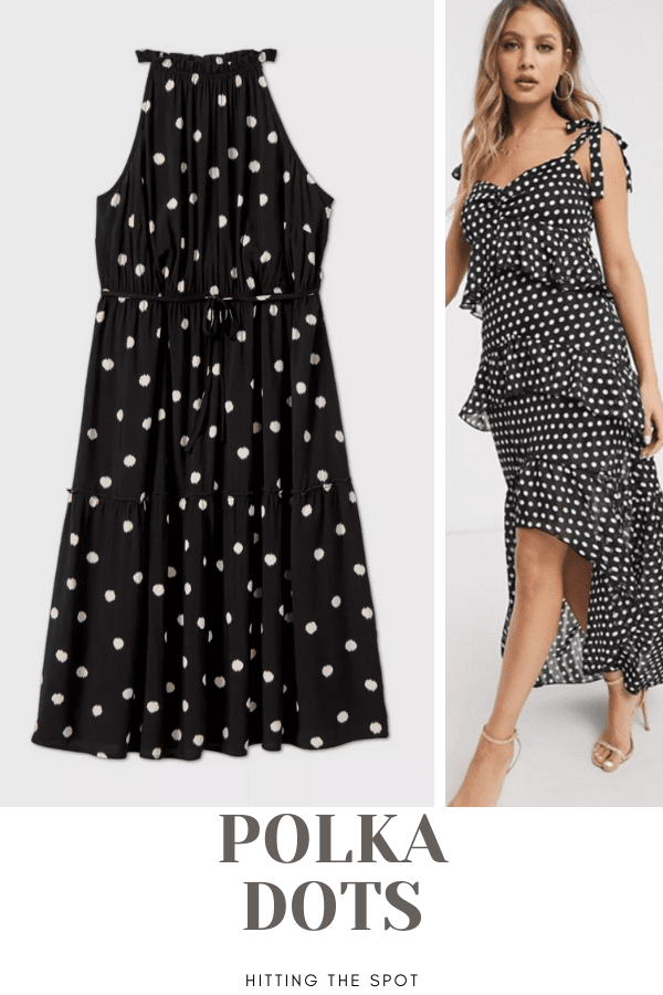 Collage of two polka dot dresses