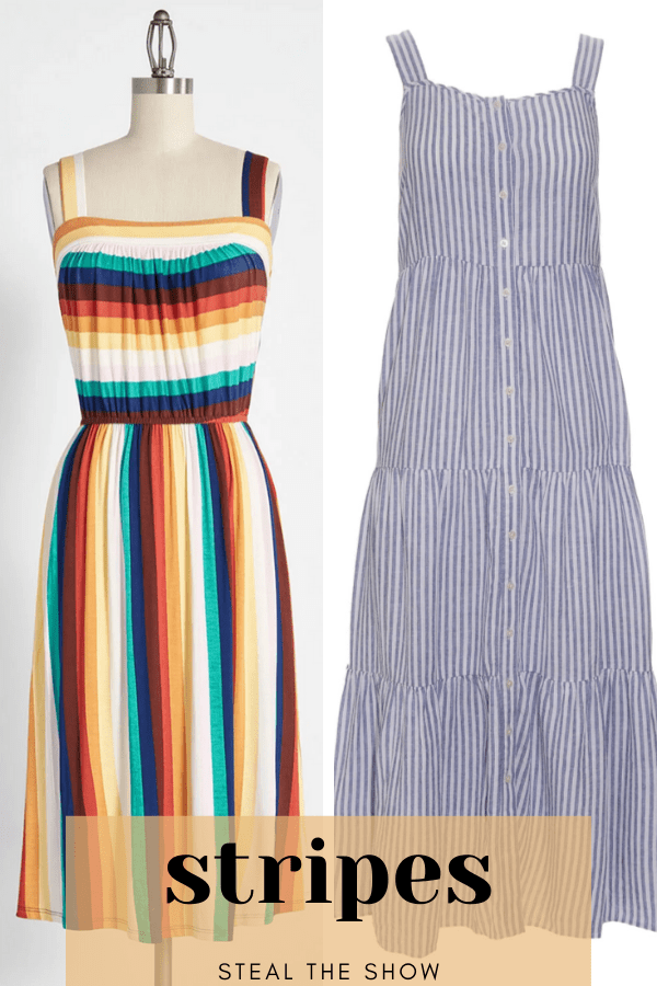 Collage of two striped dresses to show summer dress trends