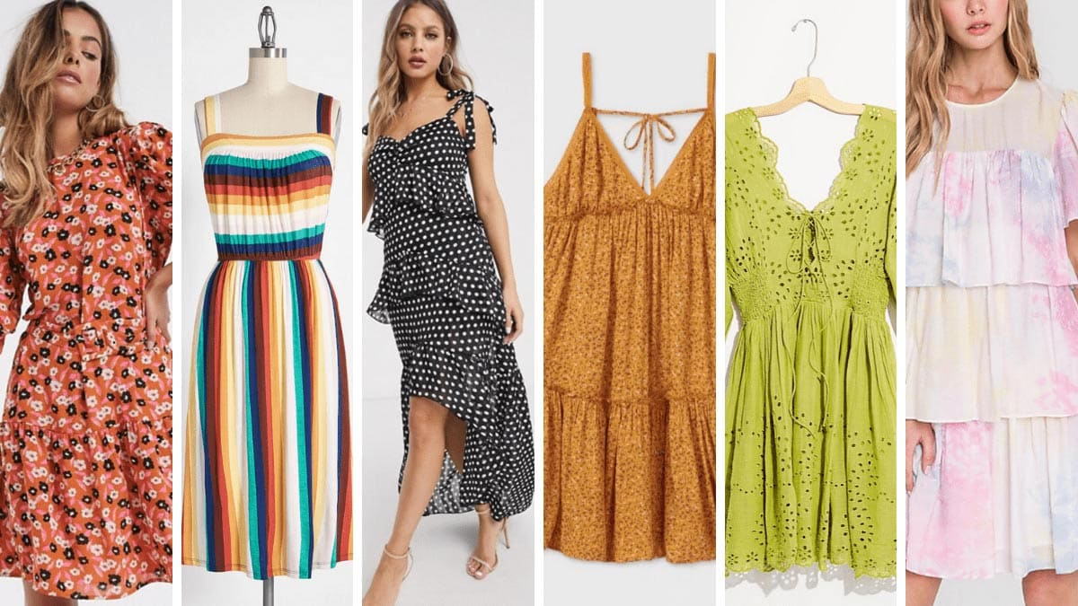 Collage of five summer dresses