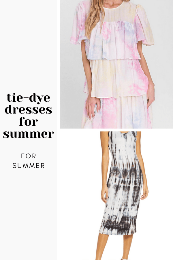 Collage of two tie-dye dresses to show off summer dress trends