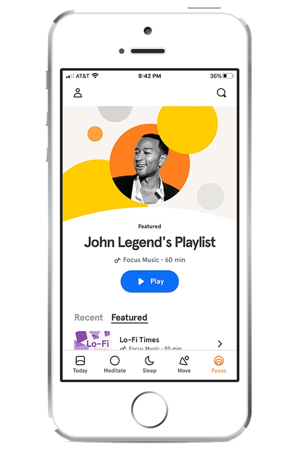 View of Headspace app on iPhone