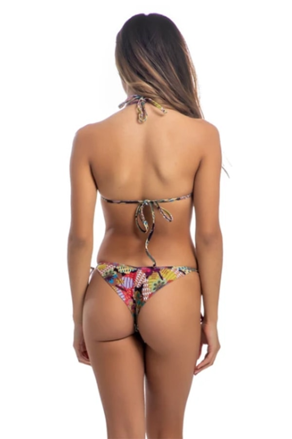 Backside of woman wearing cheeky bikini bottom
