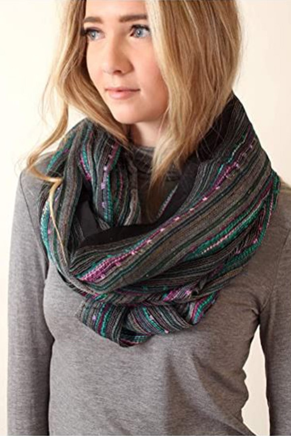Infinity scarf with blue and pink