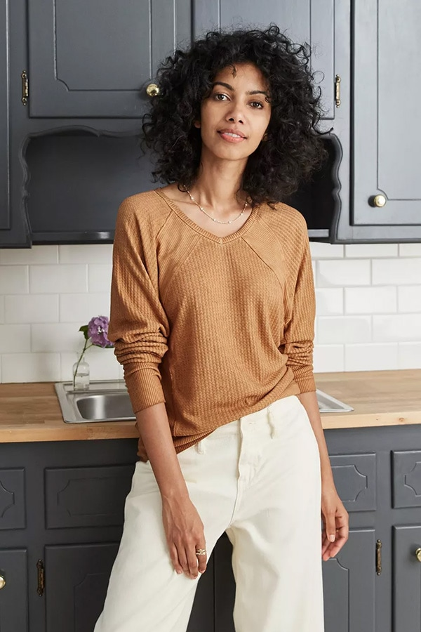 Brown ribbed long-sleeved top from Target