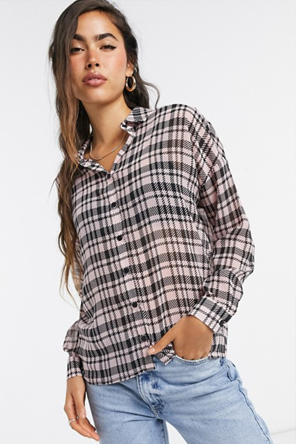 Houndstooth women's long-sleeved top from ASOS