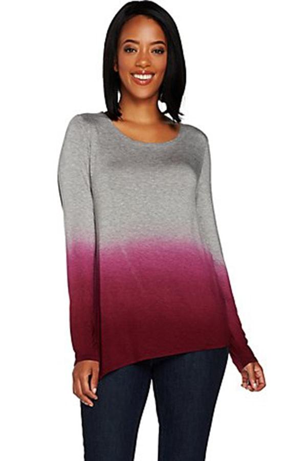 Long-sleeved, dip dye top