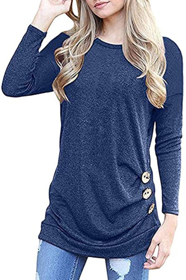 Long-sleeved top from Amazon with button detail