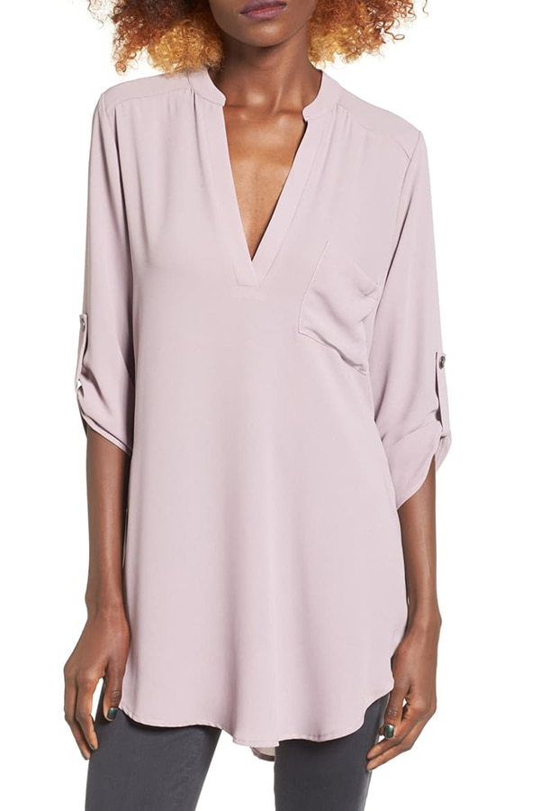 Pink henley tunic from Nordstrom